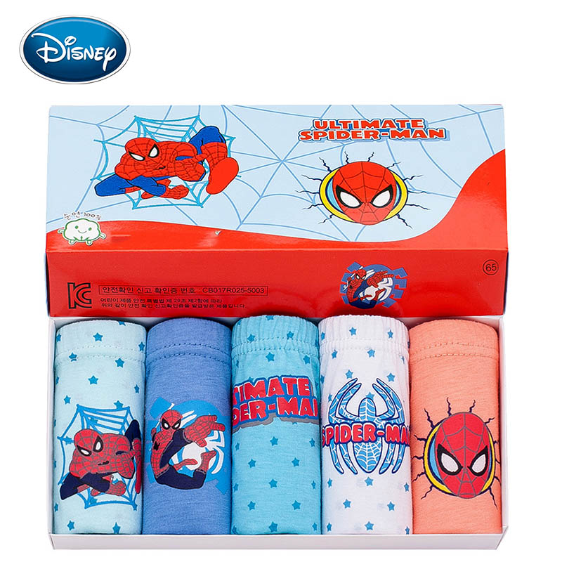 Disney 5Pcs / Lot 2019 Spider Man For Boys Panties Cotton Material Briefs Comfortable Kid Underwear 3-14Y