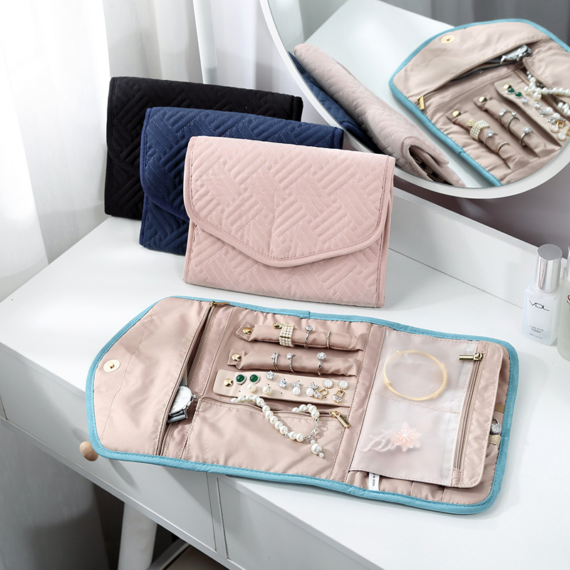 2020 Travel Jewelry Organizer Roll Foldable Jewelry Case for Journey Rings Necklaces Bracelets Earrings Organizer Storage