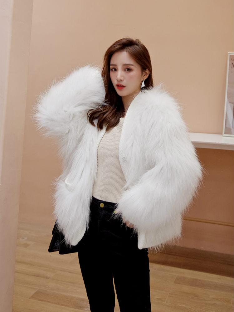 OFTBUY 2019 Real Fur Coat Natural Weaving Raccoon Fur Winter Jacket Women Loose  V-neck Outerwear Streetwear New Fashion Luxury