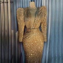 두바이 디자인 골드 v 목 섹시한 이브닝 드레스 2020 긴 소매 구슬 장식 된 공식 드레스 실제 사진 LA70006