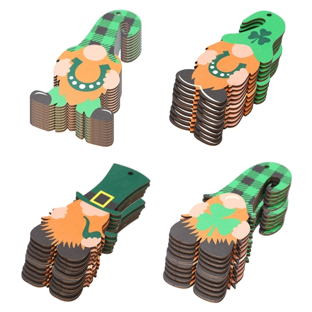 10 Pcs Saint Patrick's Day Wooden Gnome Faceless Doll Hanging Pendant Ornament with Ropes Home Party Decor 1