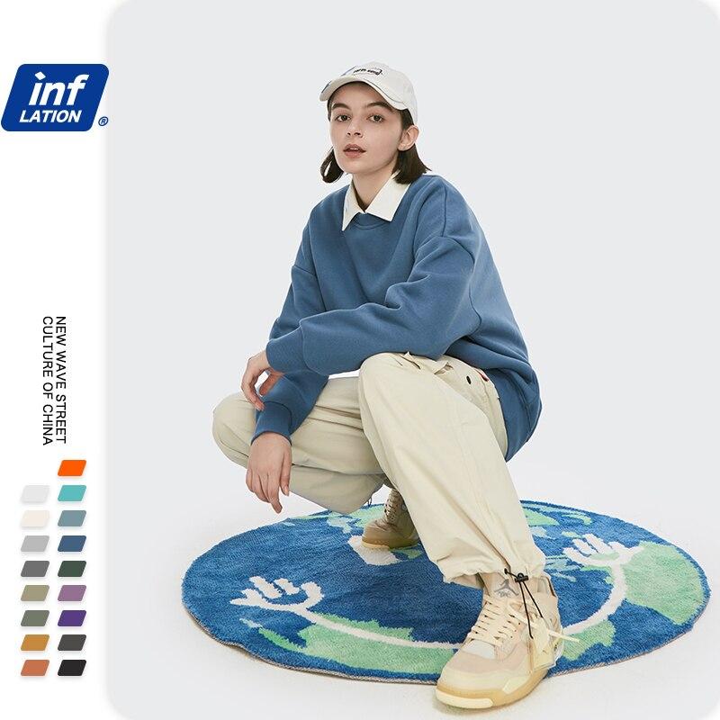 INFLATION Winter Mens Hip Hop Multi-colour Hoodies Velvet Fabrics Fleece Sweatshirts 8 Solid Color Winter Men Sweatshirts 166W17 2
