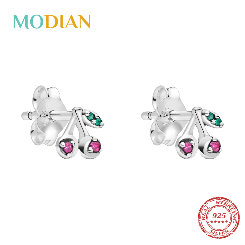 Modian New Sale 100% 925 Sterling Silver Fresh Cherry Tiny Stud Earrings For Women Fashion Classic Silver Christmas Gift Jewelry