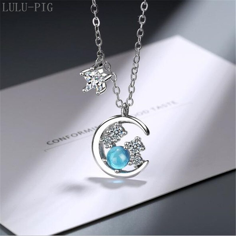 LULU-PIG 2019 new blue star necklace female clavicle chain simple personality temperament cool wind necklace  DZ462