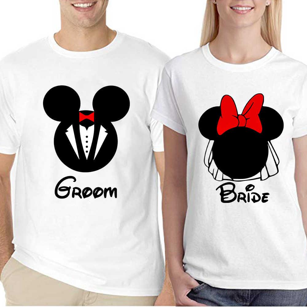 Je suis avec Mickey je suis avec Minnie Valentin Couple avant et arrière correspondant tshirts