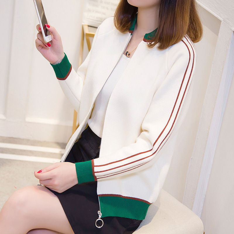 2019 Early Autumn New Style Korean-style Short Mixed Colors Zipper Short Loose-Fit Cardigan Harajuku Coat Sweater WOMEN'S Knit S