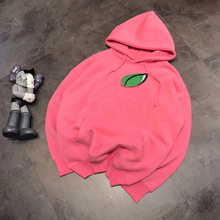 Autumn 19 new couple super cute Apple hooded sweater couple round neck sweater loose hoodie girls Pink(China)