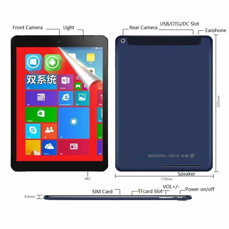 Wifi Android4.4 + Windows 8.1 (Dual Systeem) tablet Pc 9.7 Inch 2048X1536 Ips Quad Core 32-Bit Besturingssysteem 2 + 32 Gb