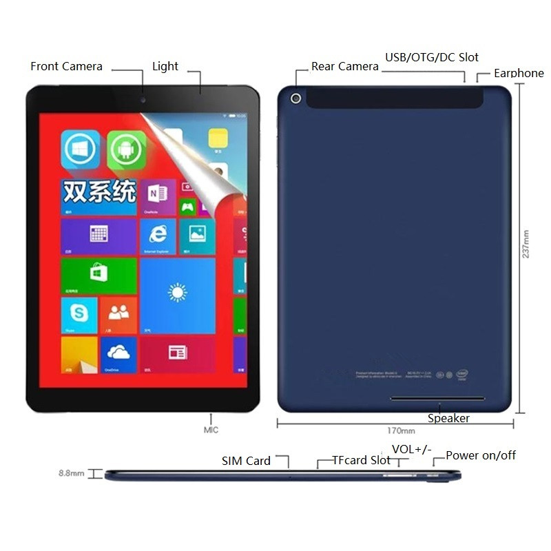 3G Network Android4.4 + Windows 8.1(Dual   System) Tablet  PC 9.7 Inch  2048x1536 IPS   QuadCore 32-bit Operating System 2+32GB
