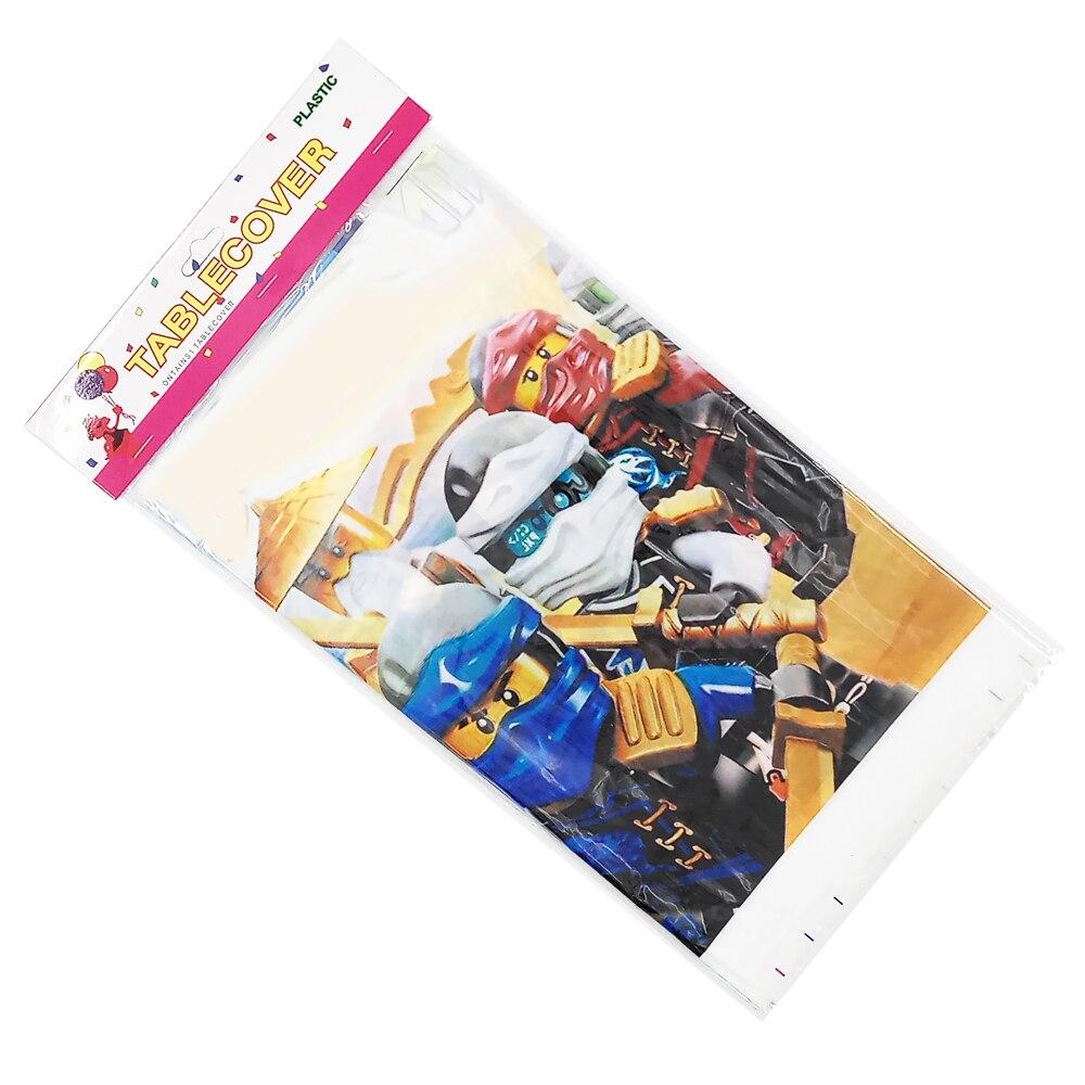 Image 5 - Вечерние принадлежности, 62 шт., для 12 детей, новинка, Ninja Kai Jay, тематическая вечеринка на день рождения, Набор Декоративной посуды, тарелка + чашка + соломинка + флаг + скатерть-in Одноразовая посуда для вечеринок from Дом и животные
