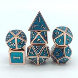 Juego de dados de metal de aleación de Zinc, dados de poliedro azul, juego de rol DND, juego de mesa MTG y enseñanza de matemáticas