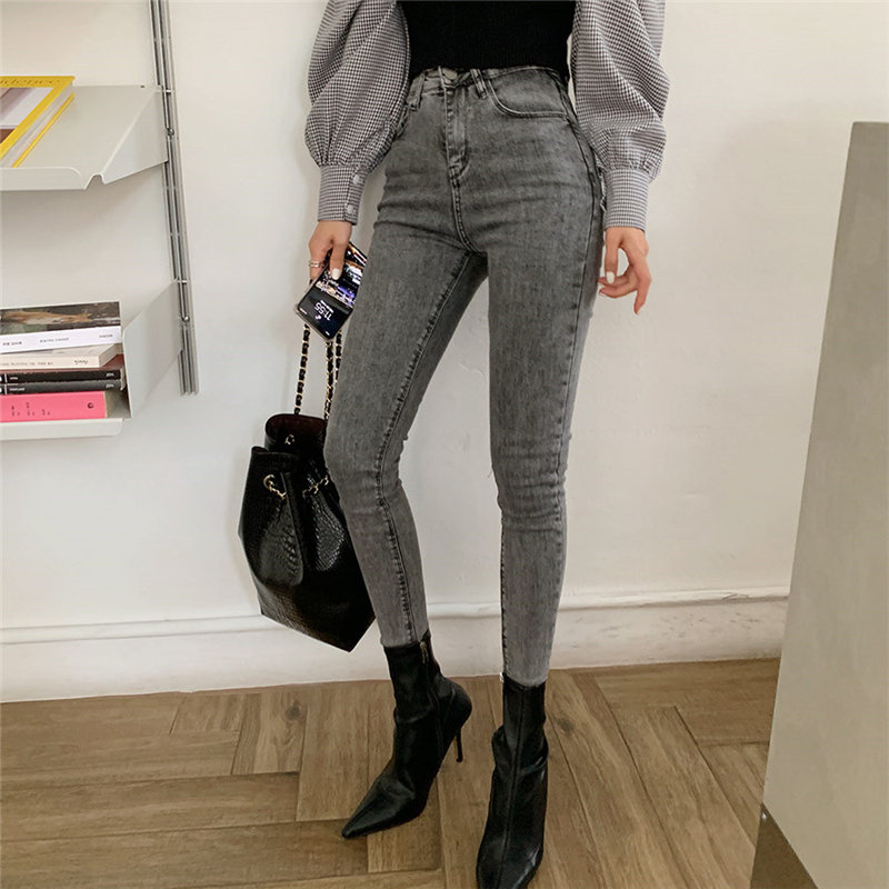 2020 Skinny Chic Ankle-Length Woman Denim Casual Solid High Waist Streetwear Slimming High Quality Pencil Jeans Pants