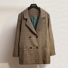 Womens suit jacket 2019 autumn new Slim large size check double-breasted ladies casual womens clothing