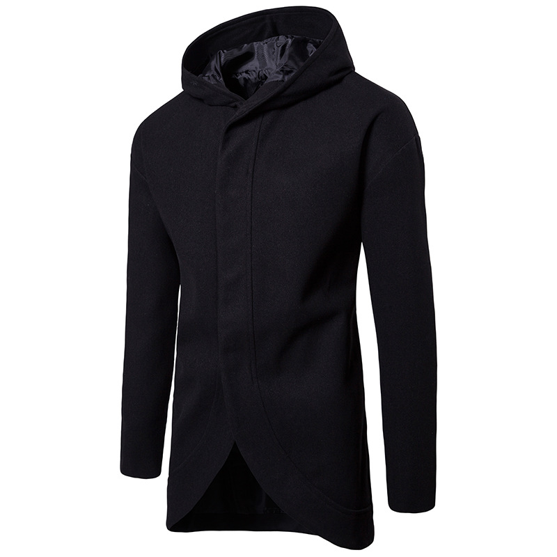 Autumn Winter Men Woolen Coat Fashion Black Hooded Slim Fit Long Sleeve Boys Wool Blend Coat Plus Size Casual Mens Overcoat Xxl