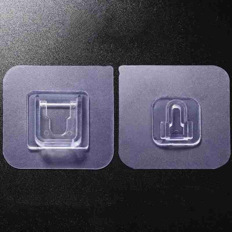 10 шт., пластиковая вешалка для кухни, ванной комнаты, двухсторонняя вешалка, наклейки для кухни, ванной, клейкий крючок, настенная клейкая вешалка