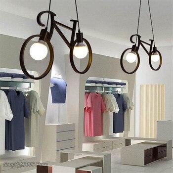 Ретро подвесной светильник, креативный Железный велосипедный подвесной светильник для гостиной, простой ресторанный бар, промышленные кух...