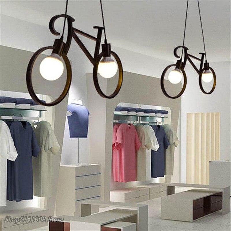Lampe pendentif en fer pour bicyclette, rétro lampe pendante créative en fer pour bicyclette salon Bar de Restaurant Simple lampes suspendues de cuisine industrielle