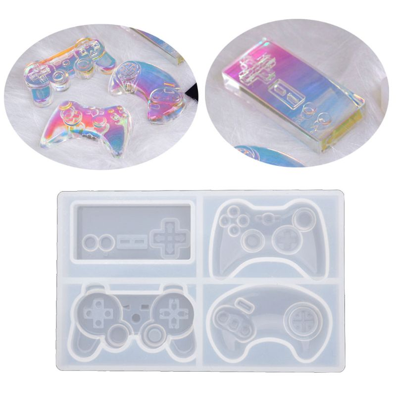 4-Styles Game Consoles Handle Pendant Silicone Resin Mold Game Controller Cake Fondant Mold Jewelry Baking Making Tools