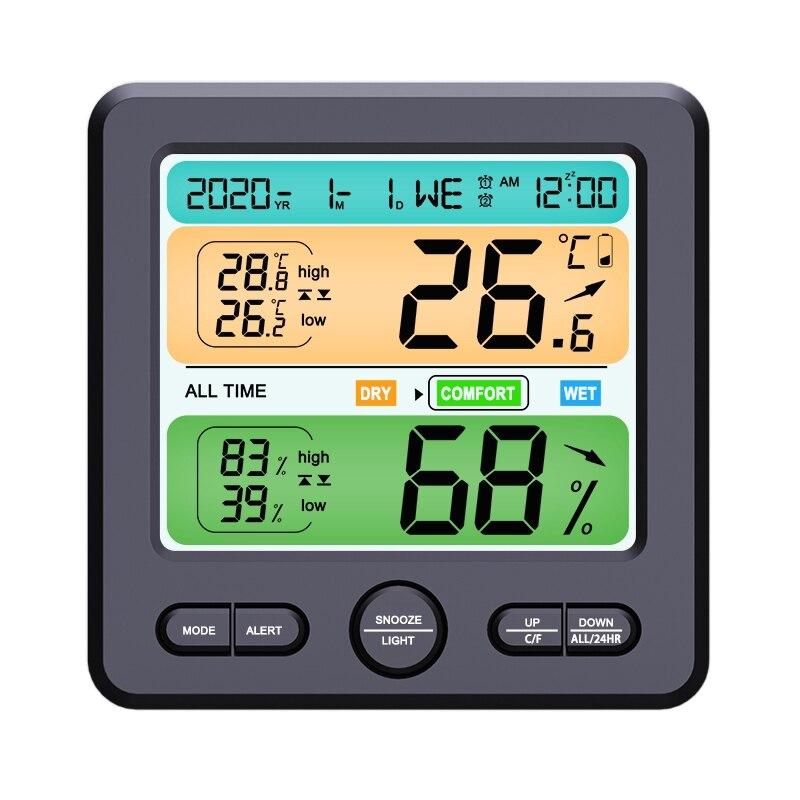 TS-6211 Thermometer Hygrometer Clock LED Backlight Color Screen Digital Display Clock