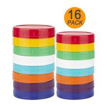 16 упак./лот стеклянная банка с завинчивающейся крышкой крышки с широким горлышком круглый Цветной Пластик крышкой для Mason консервной банки