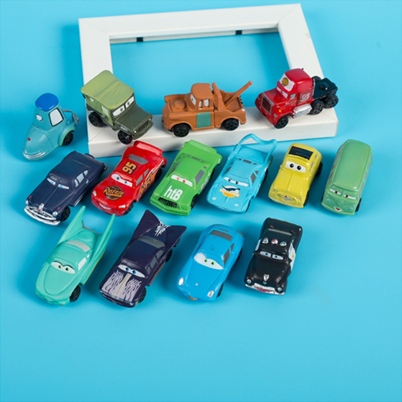 14pcs/set 4-5cm Disney Pixar Cars 3 Diecasts Toy Vehicles The King Lightning McQueen Flo Fillmore Mini Car Model Kid Toy Gift