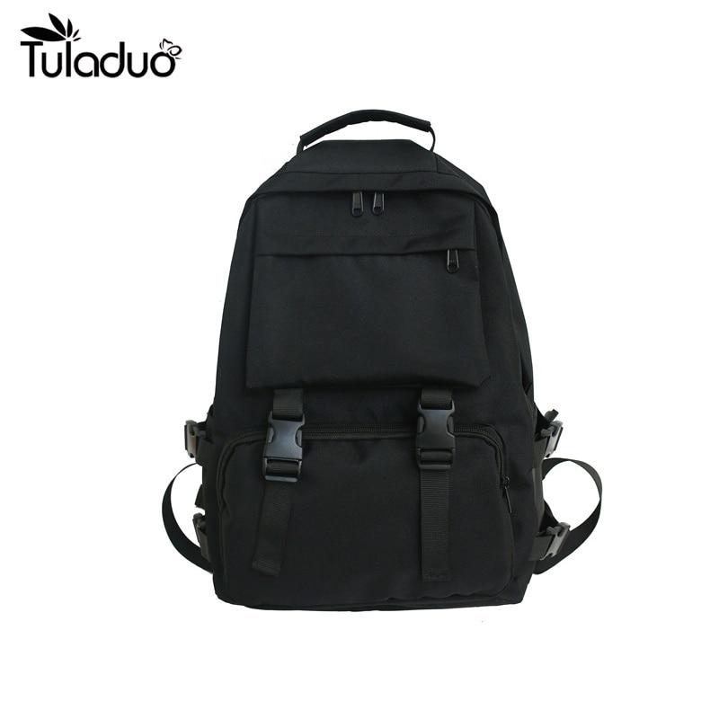 Large Capacity Solid Color Black Waterproof Oxford Casual Unisex Backpack Students School Bag Women's Men's Package