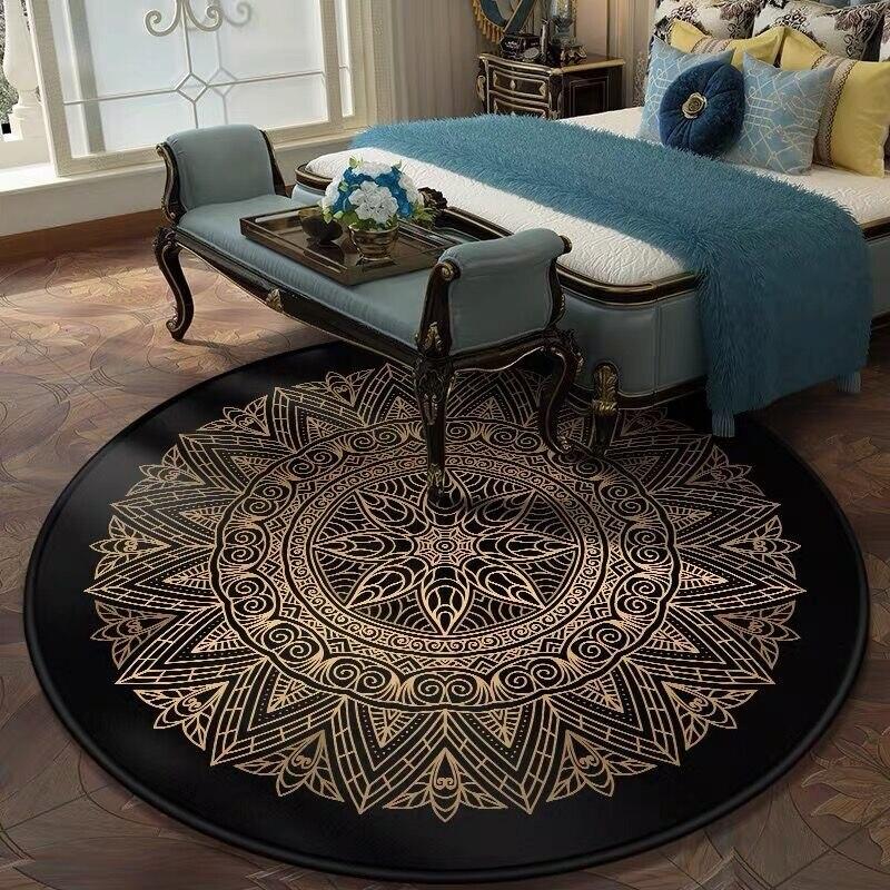 Ретро черный и золотой цветочный круглый ковер Лотос стул коврик мягкие ковры для гостиной Противоскользящий ковер Декор для спальни ковер