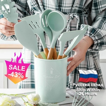 Silicone Cooking Kitchen Utensils Set Non-Stick Spatula Shovel Wooden Handle Tools With Storage Box Tool - discount item  43% OFF Kitchen,Dining & Bar