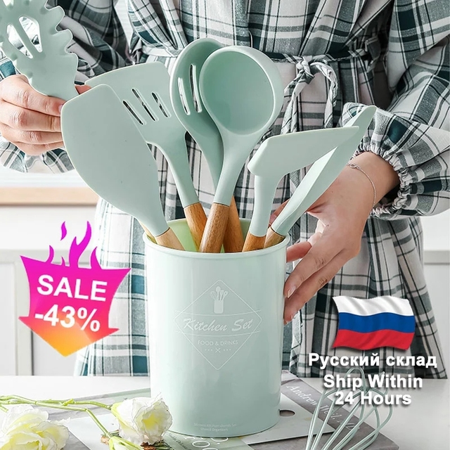 Silicone Cooking Kitchen Utensils Set Non Stick Spatula Shovel Wooden Handle Cooking Tools Set With Storage Box Kitchen Tool Set