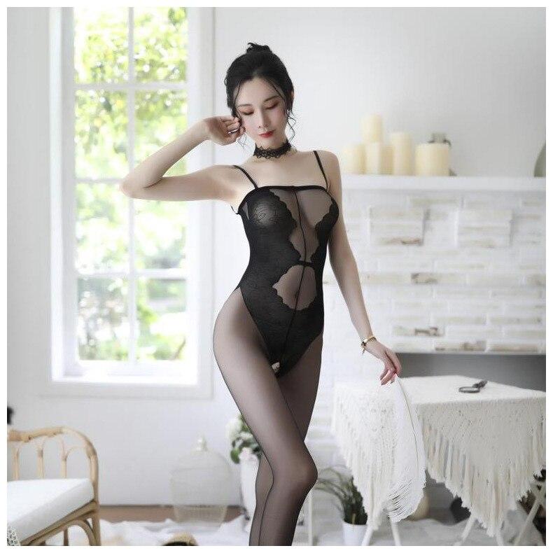 Hf5f547de3d794fb1b1aea5a082c23b57C Lencería Sexy íntima para mujer, disfraces sexys de osito, kimono porno, mono de manguera, ropa interior, medias elásticas de malla de color negro ajustado