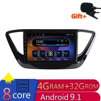 "9"" 4G RAM 8 cores Android Car DVD GPS Navigation For Hyundai Verna Solaris 2017 2018 2019 audio stereo car radio bluetooth wifi"
