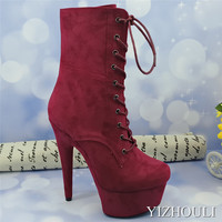 15 cm Burgundy suede stilettos, 6 inch pole dancing catwalk heels, rounded head party club, ankle boots