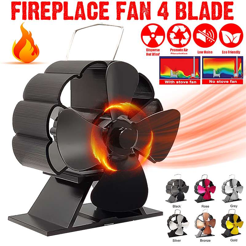 Mini Black Fireplace 4 Blade Heat Powered Stove Fan Komin Log Wood Burner Eco Silnet Fan Home Efficient Heat Distribution
