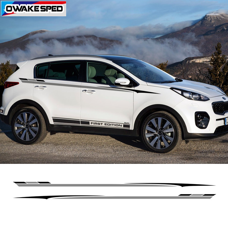 Racing Sport Waist Lines Stripes Car Styling Body Customized Sticker Auto Side Door Decor Vinyl Decal For KIA SPORTAGE-in Car Stickers from Automobiles & Motorcycles