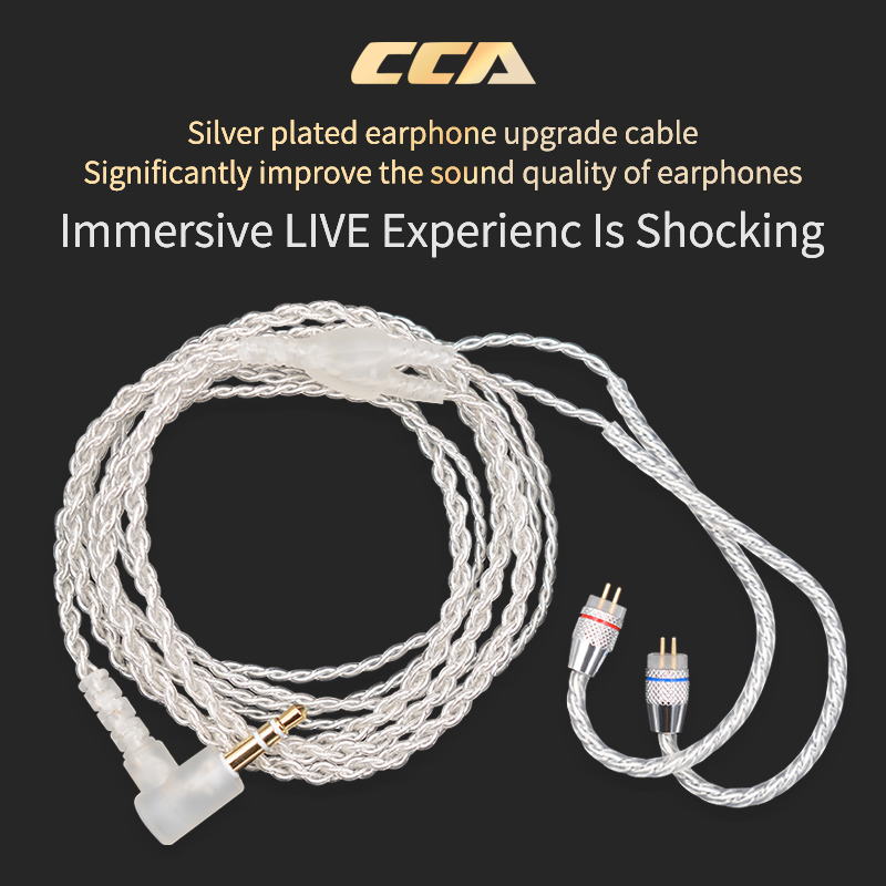 CCA Silver <font><b>Cable</b></font> With 3.5mm <font><b>2Pin</b></font> <font><b>0.75mm</b></font> Connector Oxygen Free Copper For CCA C12/ZSN Pro/ZS10Pro/ZSX/AS16 image