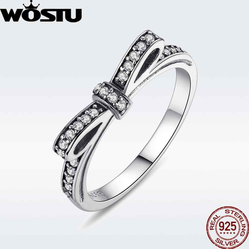 WOSTU Hot Sale 925  Sterling Silver Rings For Women European Original Wedding Fashion Brand Ring Jewelry Gift