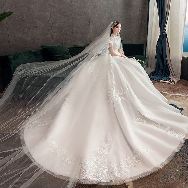 Fashion Lace Applique Wedding Dresses Beads Tulle Bridal Wedding Gown Elegant Big Drag Wedding Dress