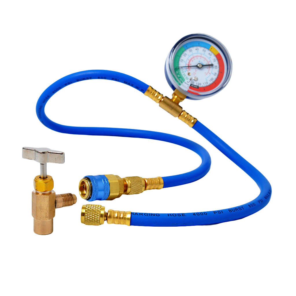 suroper Car Air Conditioning Refrigerant Recharge Hose Kit AC 1//2 R134A Auto Measuring Hose Charging Adapter with Gauge