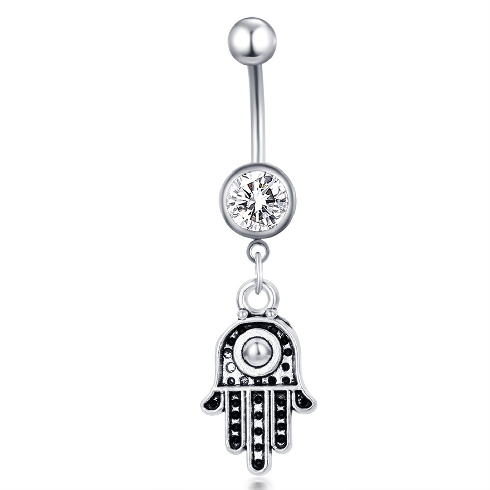 Hamsa Belly Piercing Dangle Belly Ring Crystal Belly Button Rings Navel Ring Navel Jewelry Belly Button Jewelry Belly Ring Boho