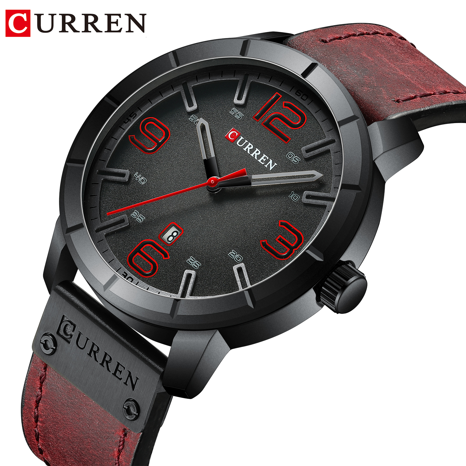 CURREN Men Sports Leather Watch Luxury Brand Watches Quartz Wristwatch Business Calendar Clock Reloj Hombres