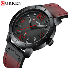 цены CURREN Men Sports Leather Watch Luxury Brand Watches Quartz Wristwatch Business Calendar Clock Reloj Hombres