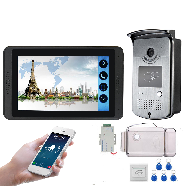 RFID Access Control Video Intercom 7 Inch Monitor Wifi Wireless Video Door Phone Doorbell Visual Intercom KIT+Door Opening Lock