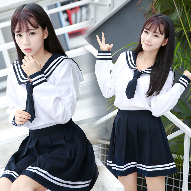 2PCS High-end JK Uniform For Girls Japanese Korea Tops+Skirt+Tie School Wear Uniform Student Sailor Black White Suit C30153AD