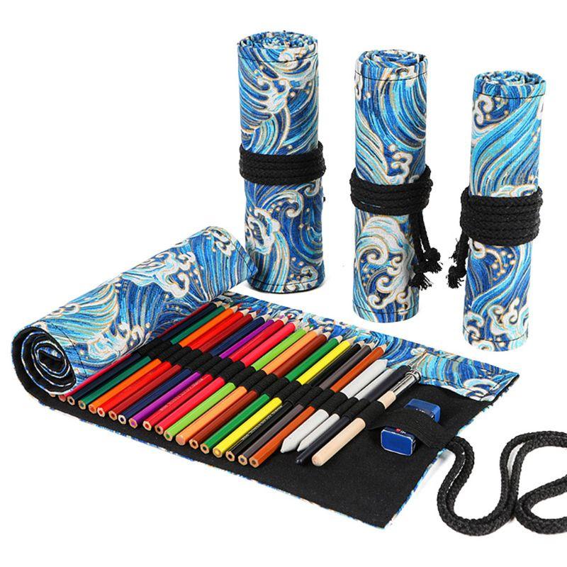 12/24/36/48/72 Holes Canvas Roll Up Pencil Bag Pen Curtain Case Makeup Wrap Holder Storage Pouch School Supplies