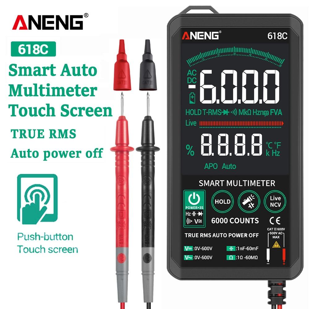 ANENG 618C multimètre numérique Smart Touch barre analogique cc véritable testeur automatique RMS condensateur à Transistor professionnel NCV testeurs mètre