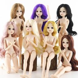Nova 36cm 22 Joint Boneca BJD Maquiagem 4D Verdadeiro Colírio Para Os Olhos Do Bebê Bonecas Corpo Nu Cachos de Cabelo Longo Moda Maduro brinquedos para Meninas Crianças Presentes de DIY