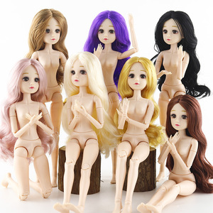 New 36cm BJD Doll 22 Joint Makeup 4D Real Eye Baby Nude Body Curls Long Hair Mature Fashion Dolls Toys for Girls Kids DIY Gifts(China)