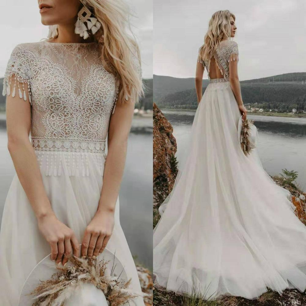 Vestido De Noiva 2020 Bohemia Tassel Boho Wedding Dress Lace Backless Short Sleeve Tulle Beach Wedding Gowns