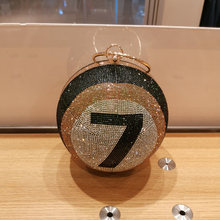 Новинка стразы вечерние сумки с шариками номером семь на плечо