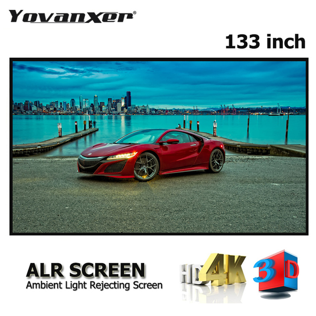 "ALR PVC Grau Kristall Dünne Rahmen Projektor Bildschirm 133 ""Ultra dünne Grenze Festen Rahmen Anti licht Projektion bildschirme"